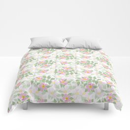 Pink Dogroses on White Comforters