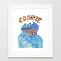 cookie monster Framed Art Prints featuring cookie monster by Art_By_Sarah