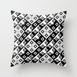 Diagonal squares in black and white Throw Pillow
