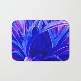 Exotic, Lush Fantasy Blue and Neon Pink Leaves Bath Mat
