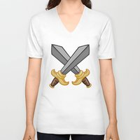fight V-neck T-shirts featuring FIGHT by Countmoopula