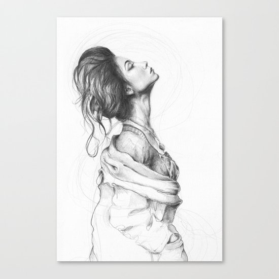 Pretty Lady Illustration Woman Portrait Beauty Canvas Print