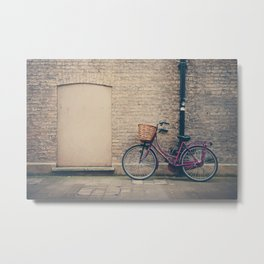maroon bicycle in Cambridge print Metal Print