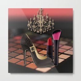 Fashion Accessories & Chandelier Collage Metal Print
