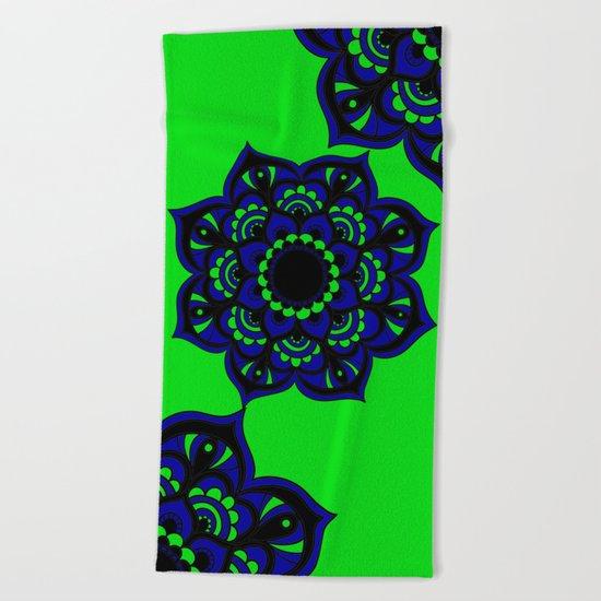 Peacock flower   Mandala Beach Towel