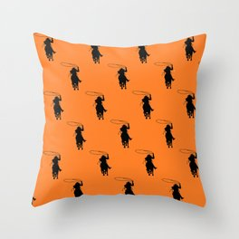 Cowgirl Roper Silhouette Pattern Throw Pillow