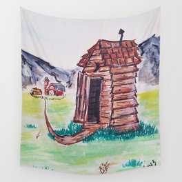 Outhouse, Primitive Art, Painting by Faye Wall Tapestry