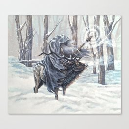 Wizard Riding an Elk in the Snow Canvas Print