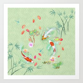 Watergarden with koi - green Art Print