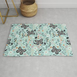 Flowers and butterflies pattern 002 Rug