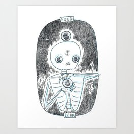 Four of Coins Skeleton Tarot Art Print