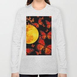 Decorative Full Moon & Monarch Butterflies Art Long Sleeve T-shirt