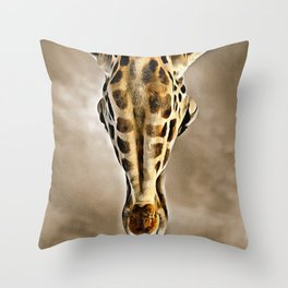 Giraffe Head Digital Painting Throw Pillow