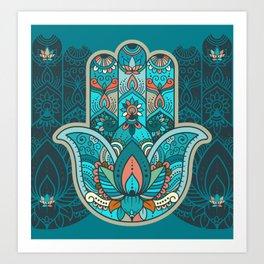 Hamsa Hand of Fatima, good luck charm, protection symbol anti evil eye Art Print