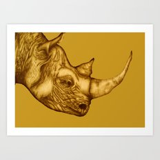 The Golden Rhino Art Print