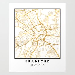 BRADFORD ENGLAND CITY STREET MAP ART Art Print