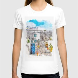 Aquarelle sketch art. Unique Santorini architecture, beautiful buildings T-shirt