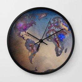 Stars world map. Blue. World map Wall Clock
