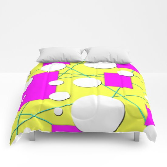 Geo Shape Play in Summertime Colors Comforters