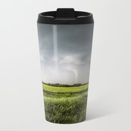 White Tornado - Twister Emerges from Rain Over Field in Kansas Travel Mug