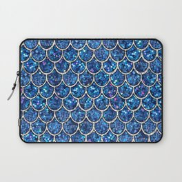 Sparkly Blue & Silver Glitter Mermaid Scales Laptop Sleeve