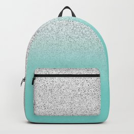 Modern Girly Faux Silver Glitter Ombre Teal Ocean Color Block Backpack