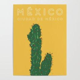 Mexico City (Ciudad de México), Mexico Cactus Travel Poster Poster