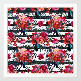 Cheerful Bright Magenta and Pink Bouquets with Feathers on White with Black Stripes Art Print