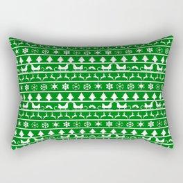 Green & White Nordic Ugly Sweater Christmas Pattern Rectangular Pillow