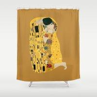 gustav klimt Shower Curtains featuring klimt by Live It Up