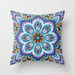 Fantasy flower in purple and blue Throw Pillow