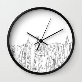 Aberdeen, Scotland Skyline B&W - Thin Line Wall Clock