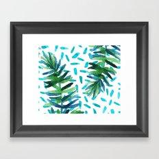 Ferns + Turquoise Framed Art Print