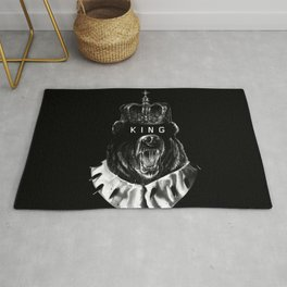 BEAR, Black, king, crown, queen, Animal,Minimal,Interior,BlackWhite,Wall art, Art Print,Trendy decor Rug