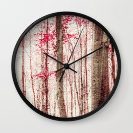 Pink and Brown Fantasy Forest Wall Clock