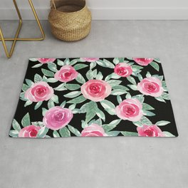 Pink Roses in black_Hand Painted modern watercolor  Rug