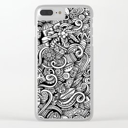 Charcoal African Doodle Pattern Clear iPhone Case