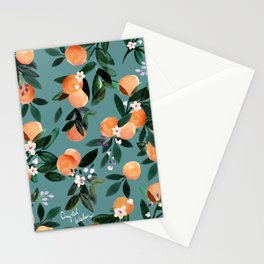 Dear Clementine - oranges teal by Crystal Walen Stationery Cards