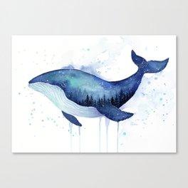 Blue Galaxy Whale Canvas Print