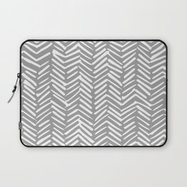 Abstract Herringbone Pattern, Rustic, Gray and White Laptop Sleeve