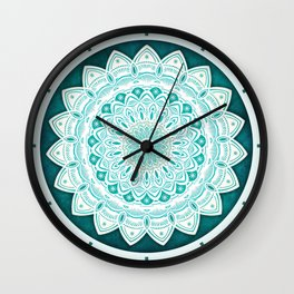 White Mandala on Blue Green Distressed Background with Detail and Textured Wall Clock