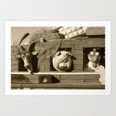 Barnyard Float-Goat, Pig, & Chicken-Sepia Art Print