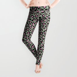 Leopard Print in Grey and Pink Leggings