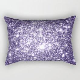 Dark Grape Purple Sparkle Stars Rectangular Pillow
