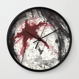 RED STAR - WATERCOLOR SPLATTER ART Wall Clock