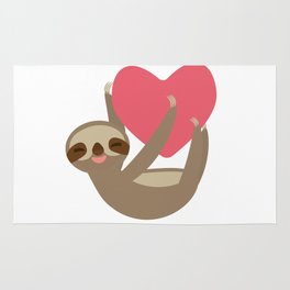 Valentines day card. Funny sloth with a red heart Rug