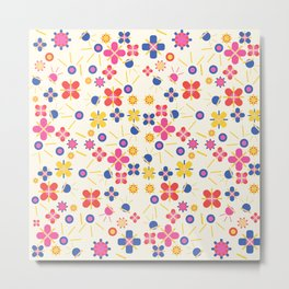 Lovely Bubblegum Flower Spring Pattern Metal Print