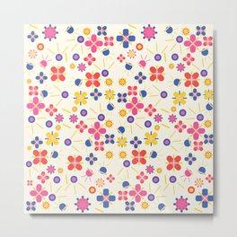 Lovely Bubblegum Flower Spring Pattern Metal Print