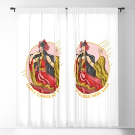 Chinese New Year Beautifull Girl Blackout Curtain