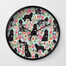 Newfoundland dog owner florals dog pattern print dog breed custom portrait by pet friendly Wall Clock